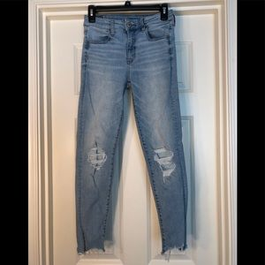 Distressed high rise crop jegging